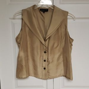 Gold silk sleeveless blouse